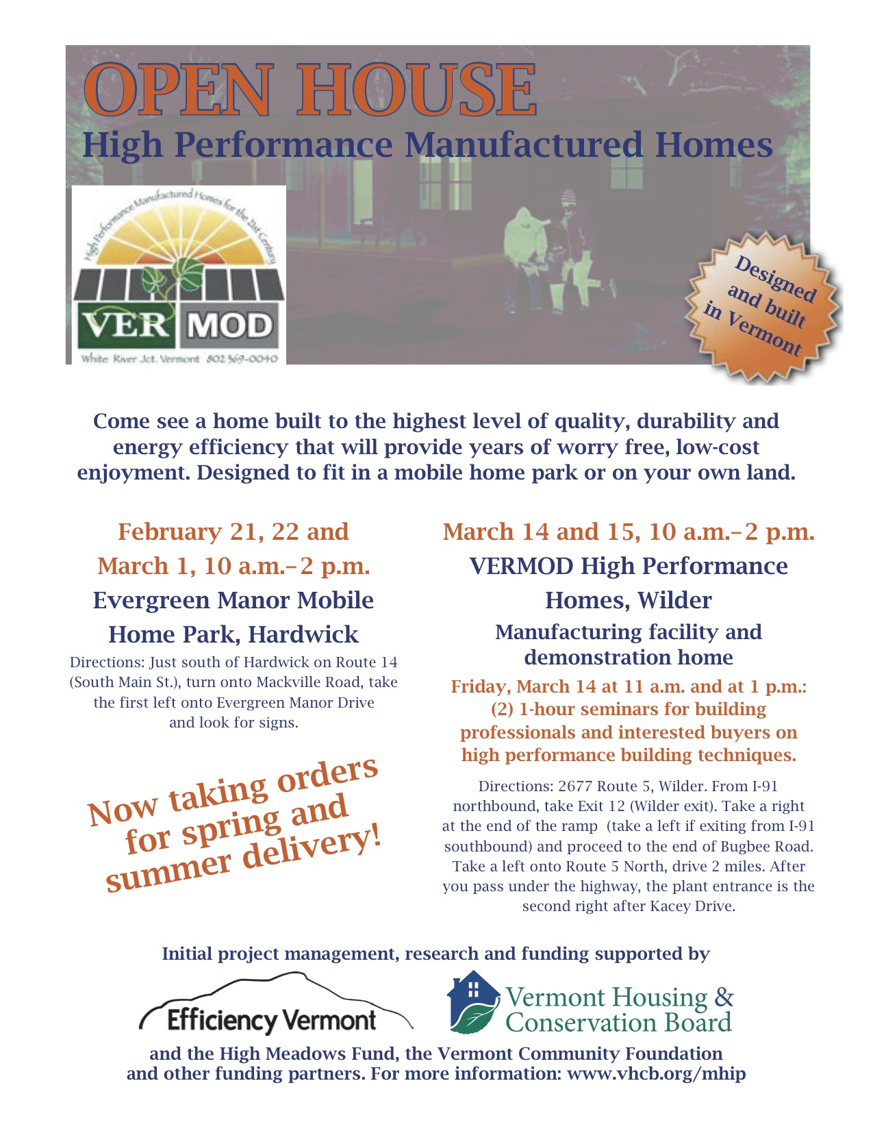 Open House: High Performance Manufactured Homes @ VERMOD High Performance Homes | Hartford | Vermont | United States