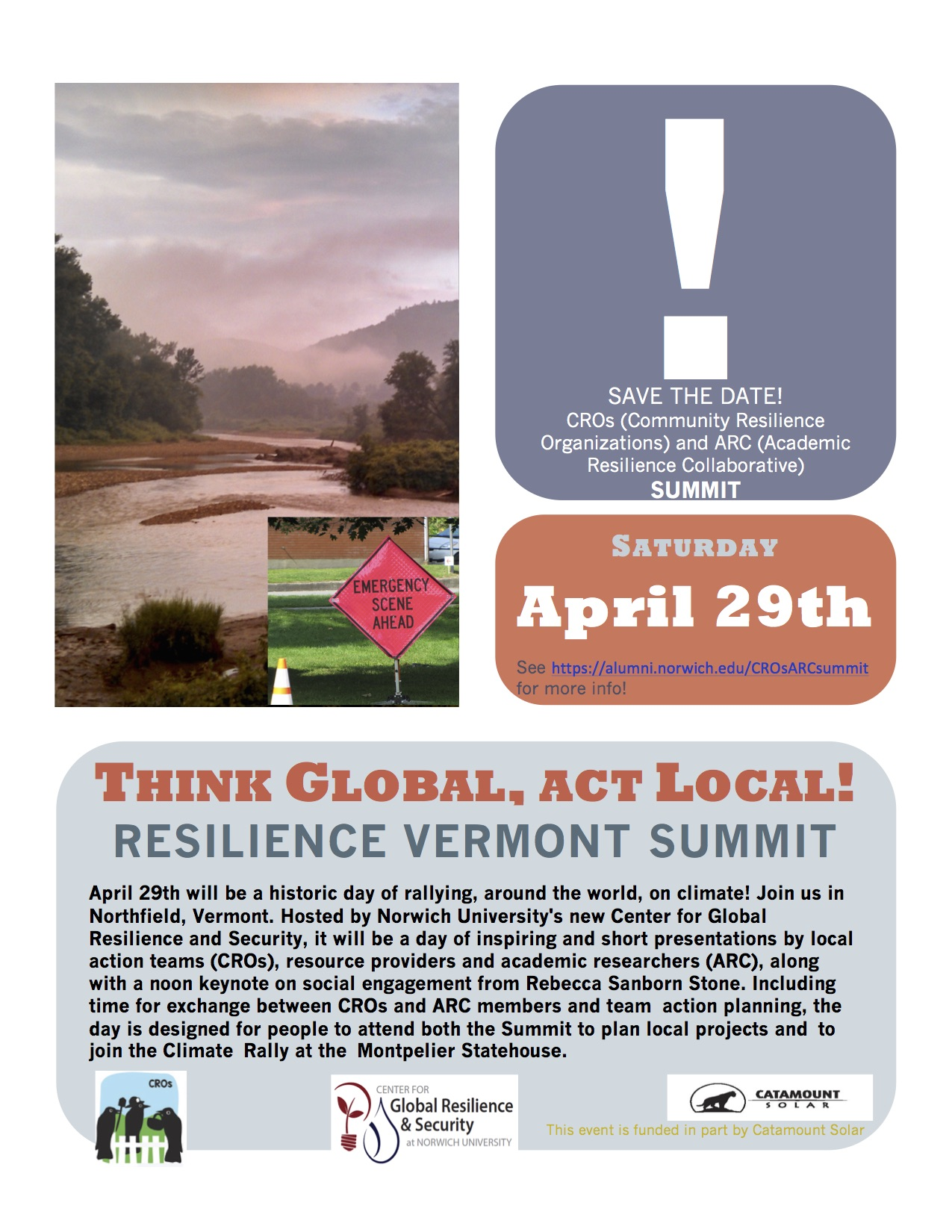 Think Global, Act Local: Resilient Vermont Summit @ Norwich University Cabot 85 and Kreitzberg Library | Northfield | Vermont | United States